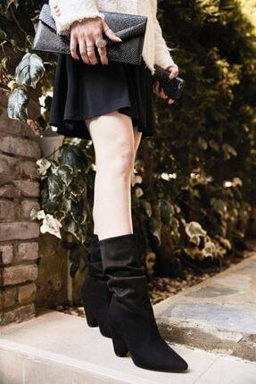 Bambi Siyah Süet Kadın Çizme K0639080772