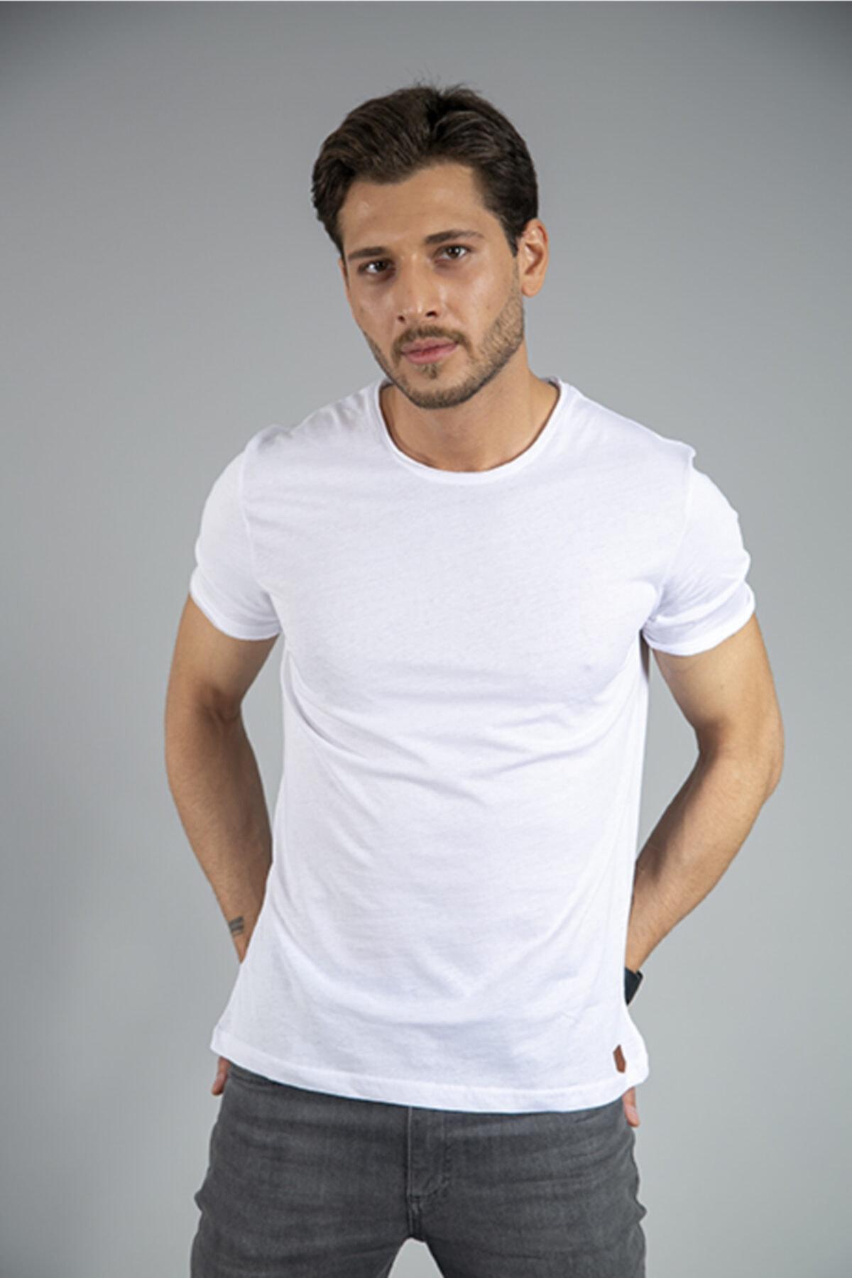 BAYEFENDİ %100 Pamuk Bisiklet Yaka T-shirt 1