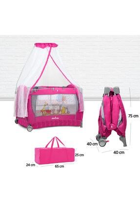Lele Baby Oyun Parkı – Sallanabilen, Katlanabilen, Tekerlekli, Cibinlikli, Park Yatak, Beşik-pembe