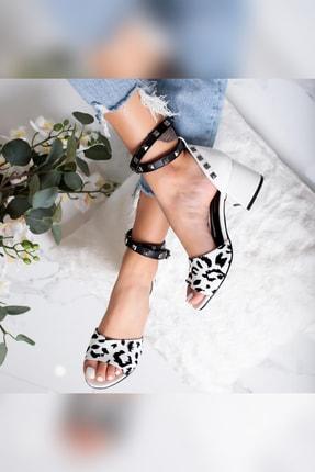 Limoya Madeline Siyah/beyaz Zımbalı Alçak Kalın Topuklu Sandalet