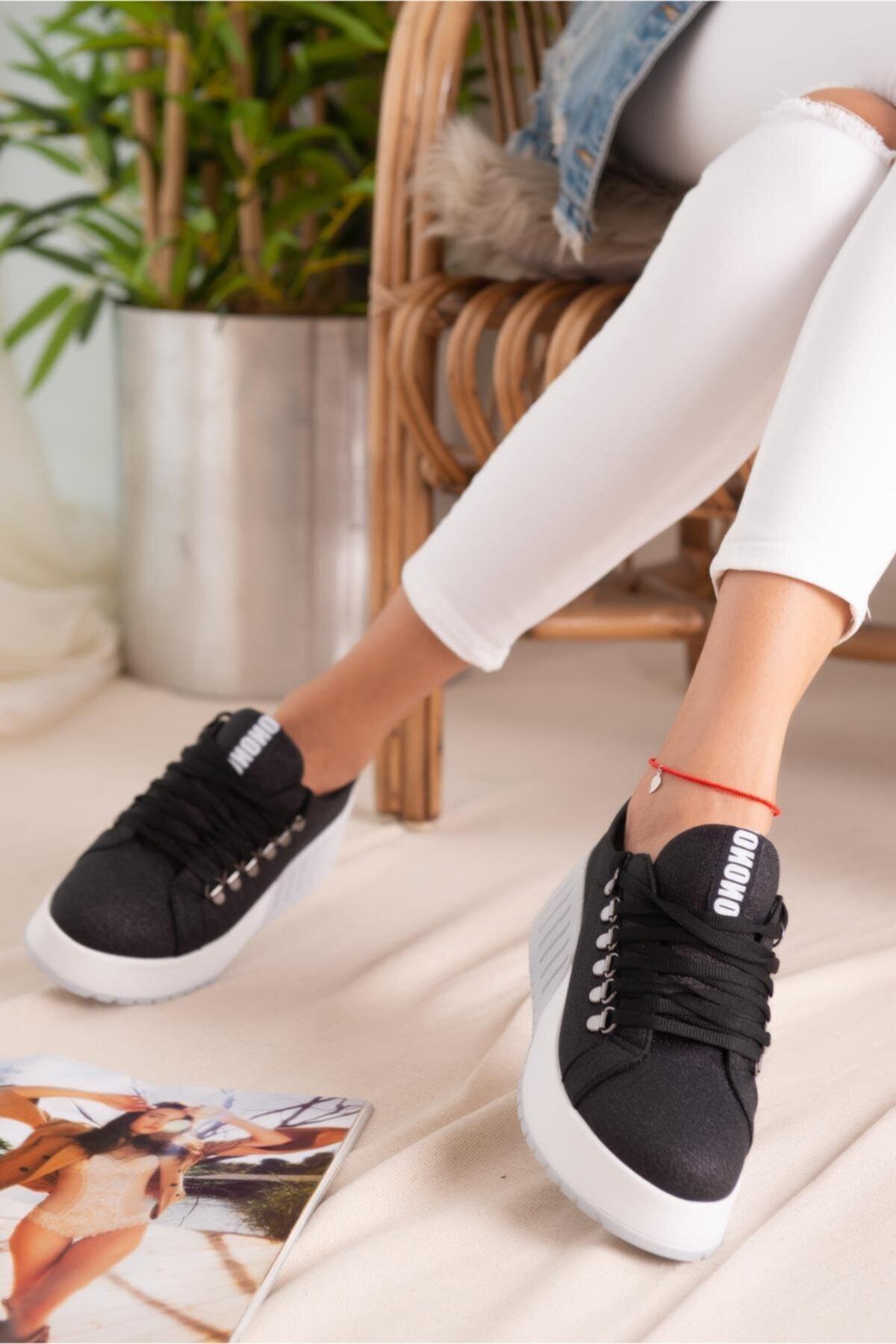 Limoya Sage Siyah Simli Bağcıklı Yüksek Tabanlı Casual Sneakers 2