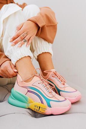 Limoya Kirsten Pudra Streç Renkli Tabanlı Bağcıklı Sneakers