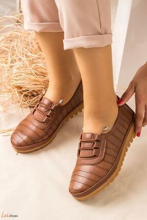 LDÇ Arica Kroko Ortopedik Rahat Kadın Ayakkabı-taba