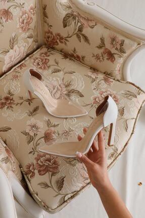 Limoya Laurel Beyaz Şeffaf Ince Topuklu Sivri Burunlu Stiletto