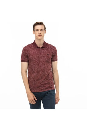 Lacoste Erkek Slim Fit Slim Fit Desenli Bordo Polo Yaka T-Shirt PH0020