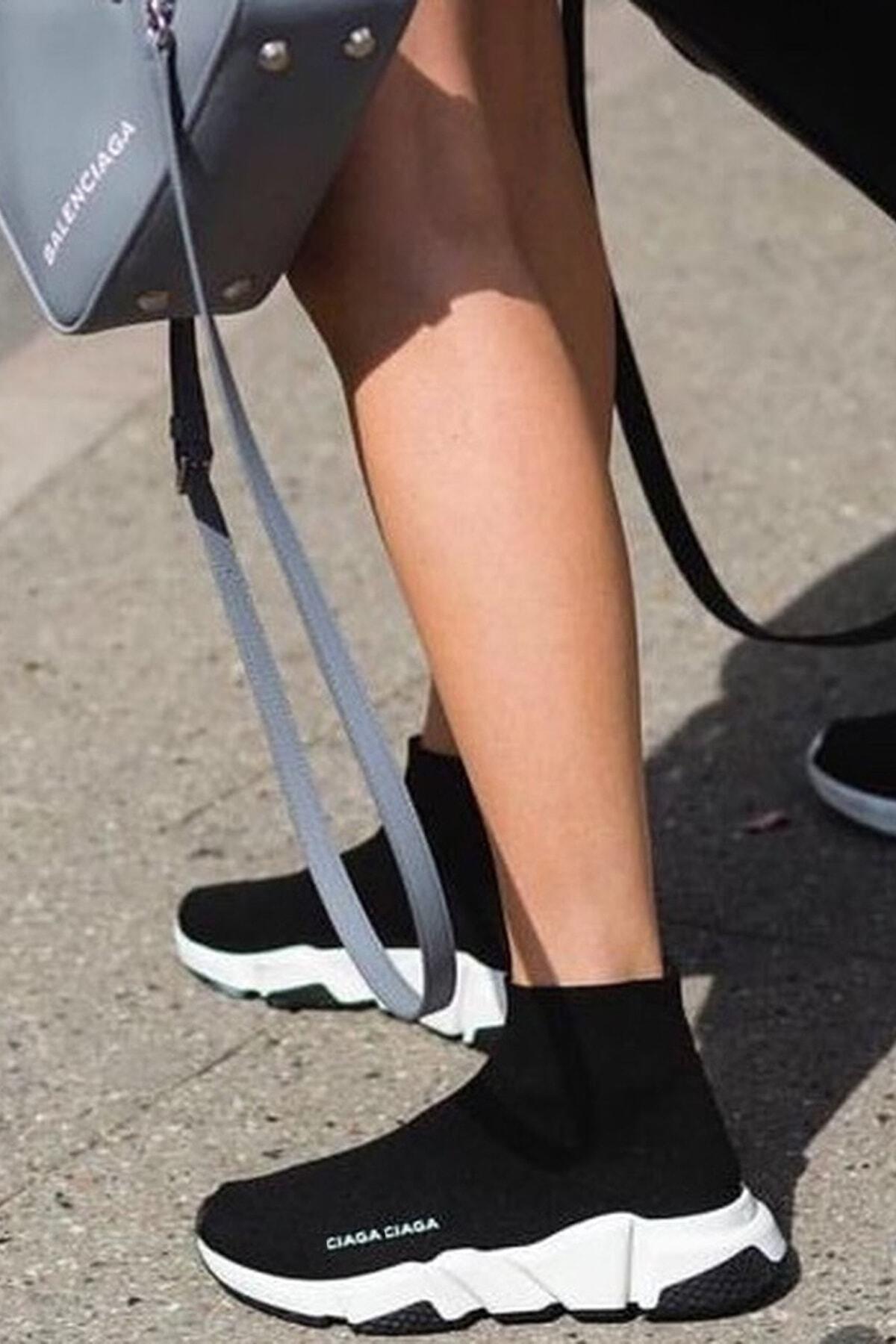 SHOELAND Siyah Beyaz Çoraplı Spor Ayakkabı 2