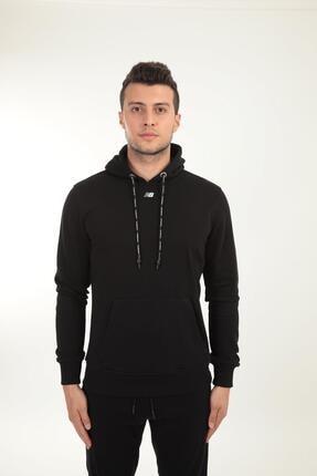 New Balance Erkek Siyah Kapüşonlu Sweatshirt Mph023-bk