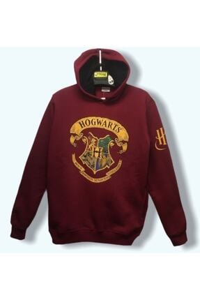 Atlantis Unisex Bordo Lisanslı Harry Potter Hogwarts Hoodie Sweatshirt