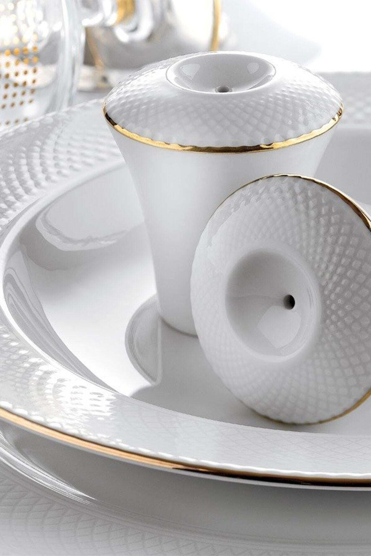 Kütahya Porselen Zümrüt 84 Parça Altın Fileli Yemek Takımı 2