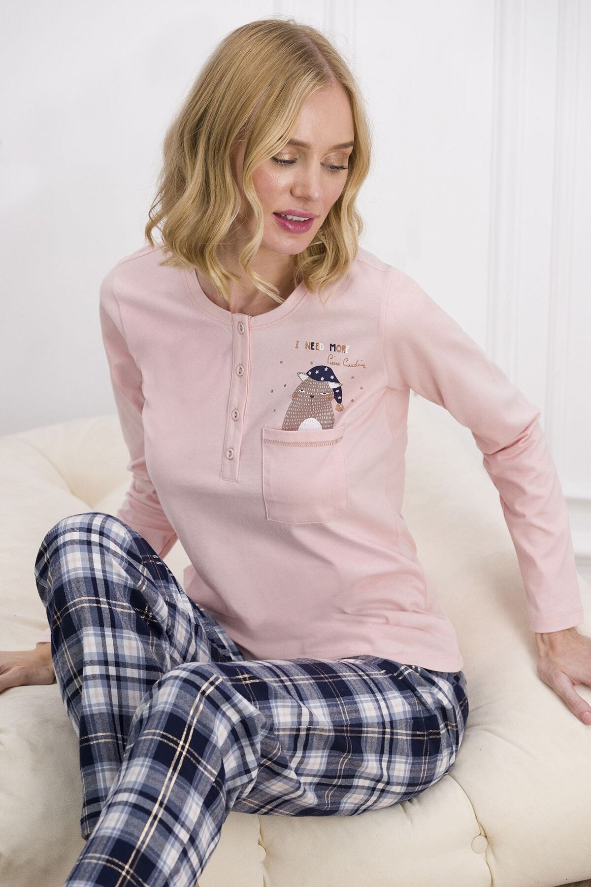 Pierre Cardin Kadın Somon Rengi Kadın Pijama Takımı 7611 1