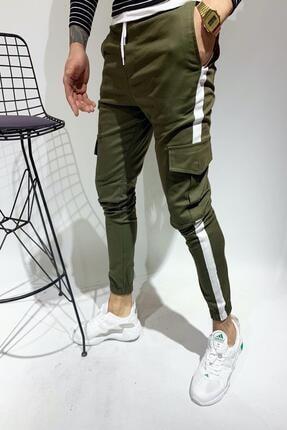 Oksit Zoom Şeritli Paçası Ve Beli Lastikli Slim Fit Kargo Pantolon
