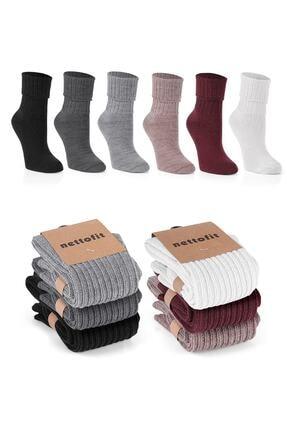 nettofit 6'lı Kışlık Kadın Yünlü Uyku Çorabı Soft Touch + 2 Çift Yazlık Çorap