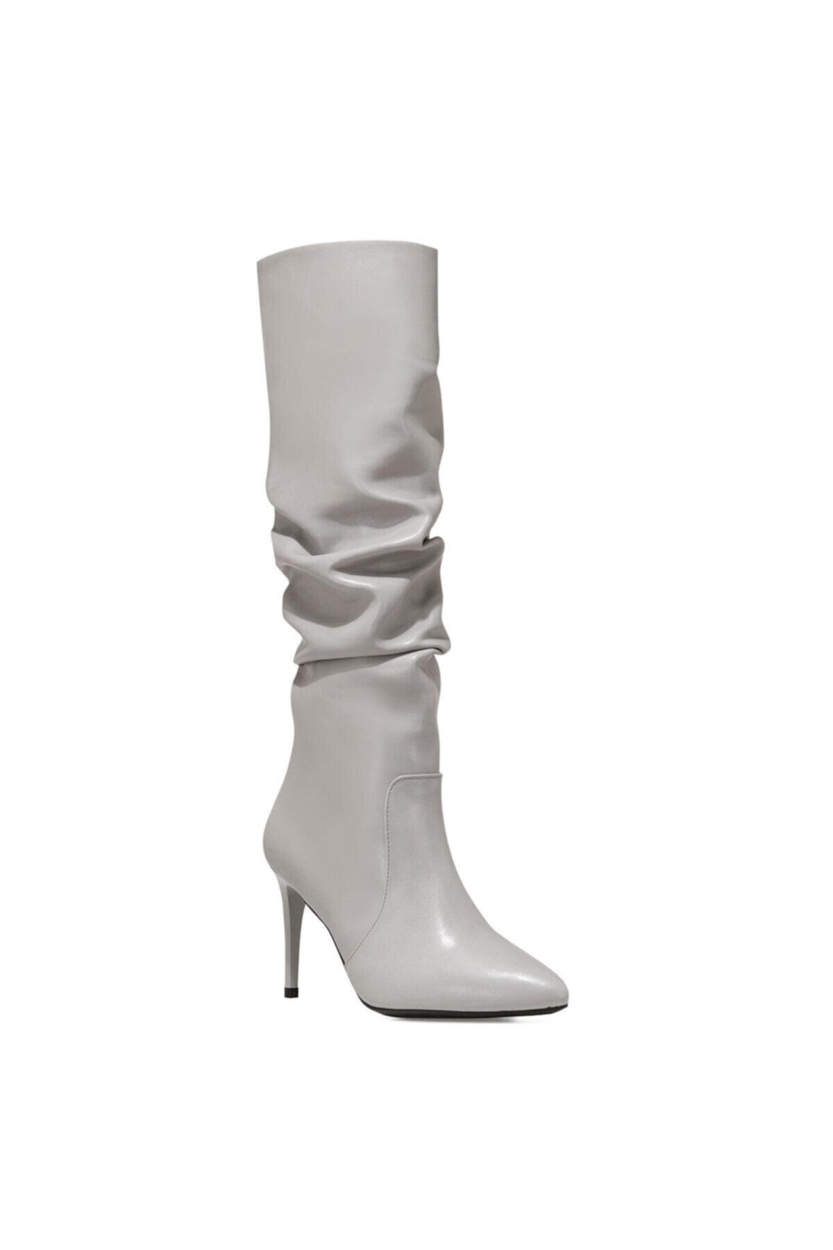Nine West PINTO Gri Kadın Ökçeli Çizme 100582071 2