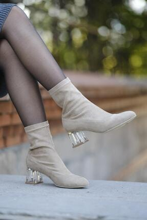 Oksit Loya Şeffaf Topuklu Streç Kadın Bot