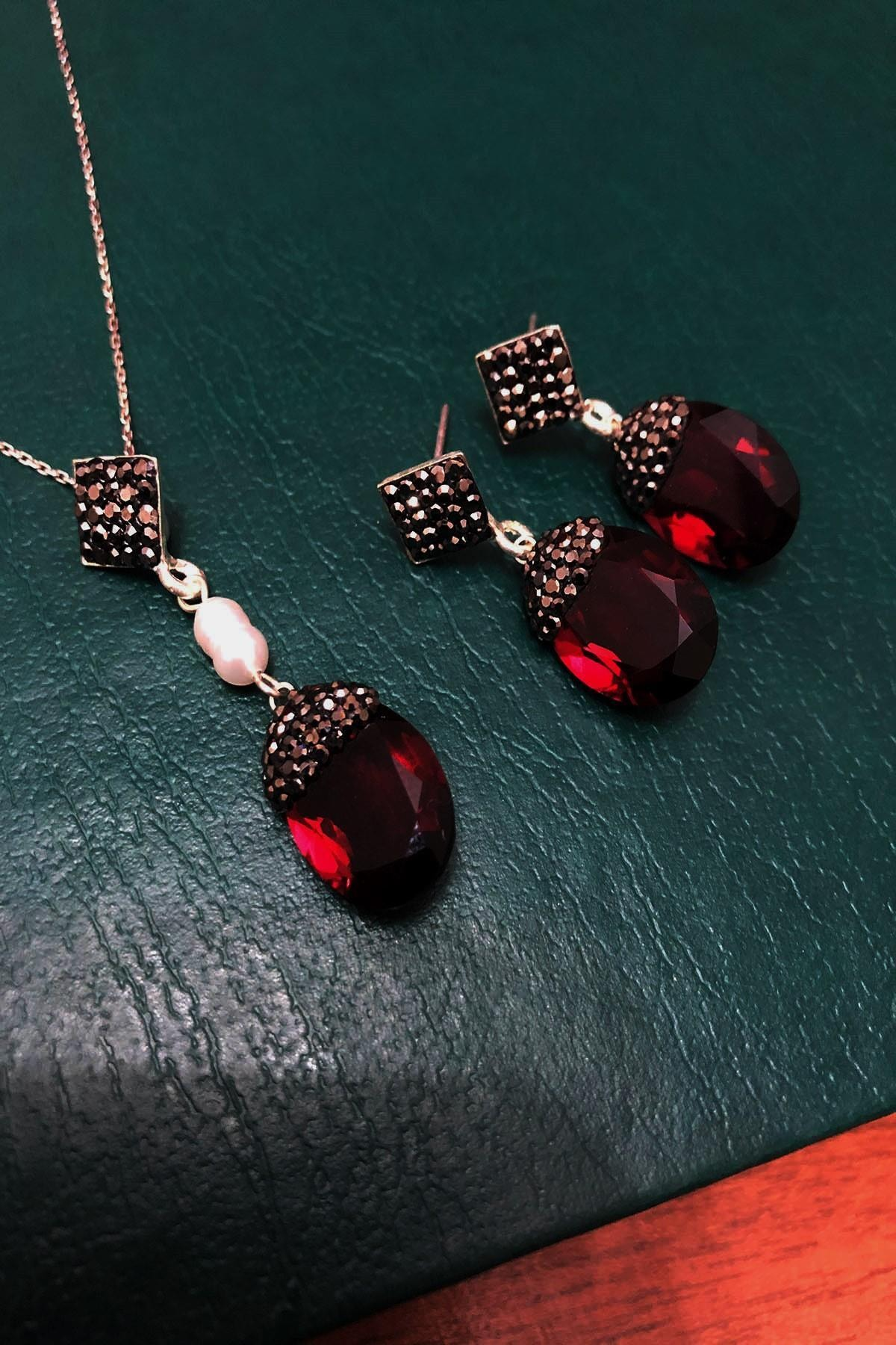 Dr. Stone Yakut Rengi Hindistan Kristali ve İnci Gümüş Kadın Set Xdrsott3 1