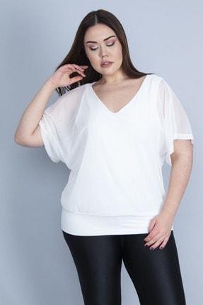 Şans Kadın Kemik İçi Viskon Atletli Tül Bluz 65N23074