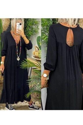 ELBİSENN Yeni Model Kadın Siyah Eteği Volanlı Sırt Dekolteli Maxi Boy Elbise