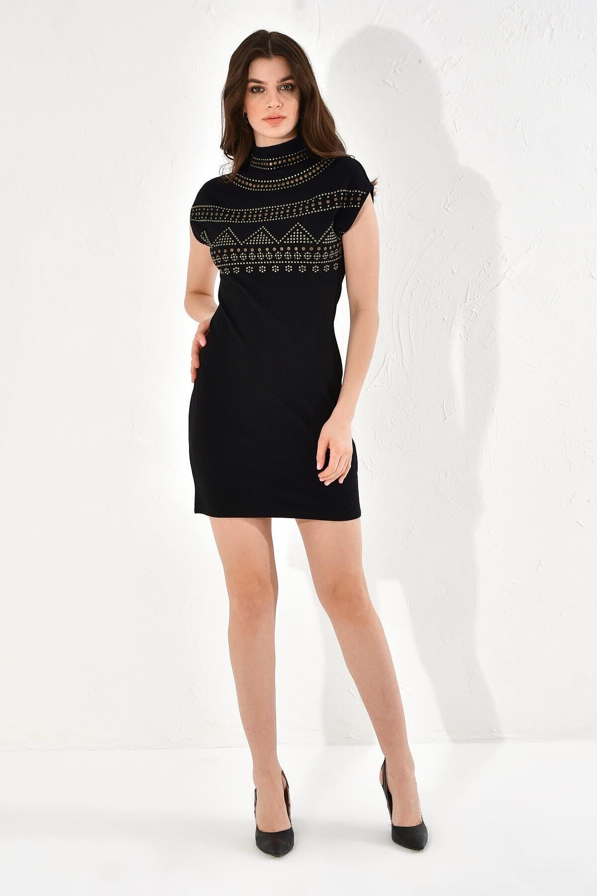 Hanna's by Hanna Darsa Kadın Taş Çakmalı Kolsuz Örme Elbise 1