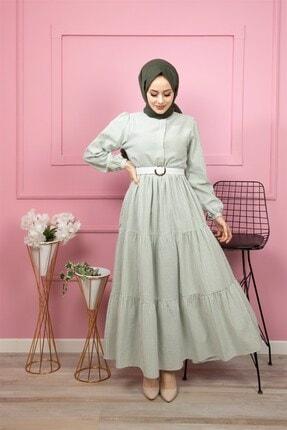 lamelif store Kadın Yeşil Çizgili Uzun Kollu Elbise 6001