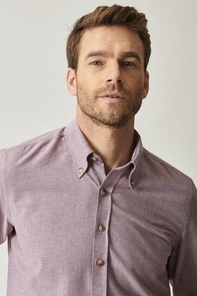 AC&Co / Altınyıldız Classics Erkek Bordo Düğmeli Yaka Tailored Slim Fit Oxford Gömlek