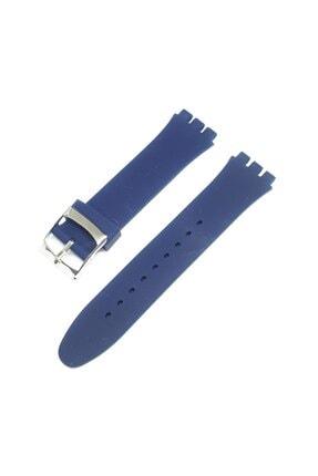 Swatch 19mm Uyumlu Lacivert Mavi Slikon Saat Kordonu