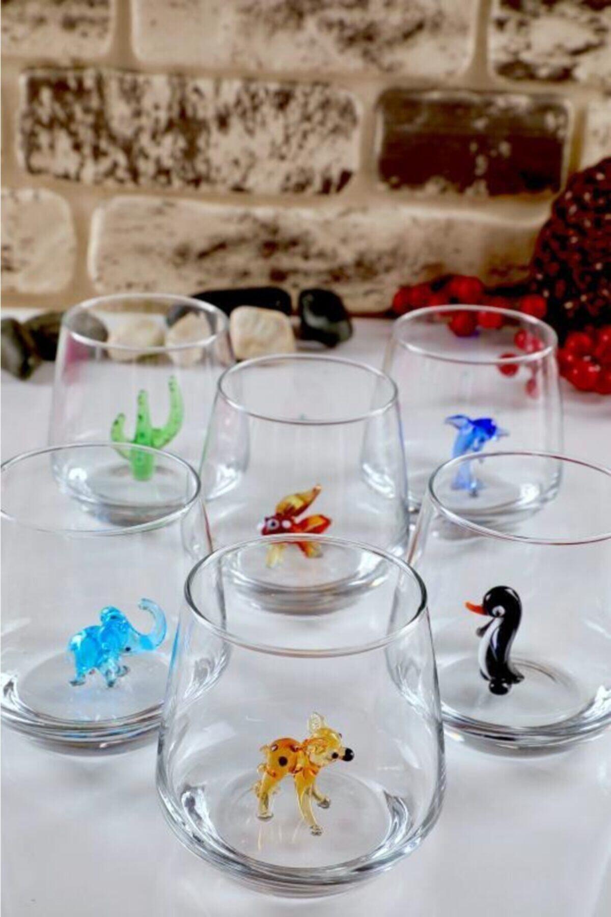 mosaicturk Hayvan Figürlü 6'lı Su Bardağı Seti (Lal Seri) 1