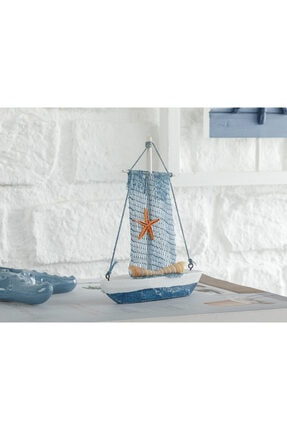English Home Sailing Boat Mdf Dekoratif Obje 12,5x3x15 Cm Beyaz