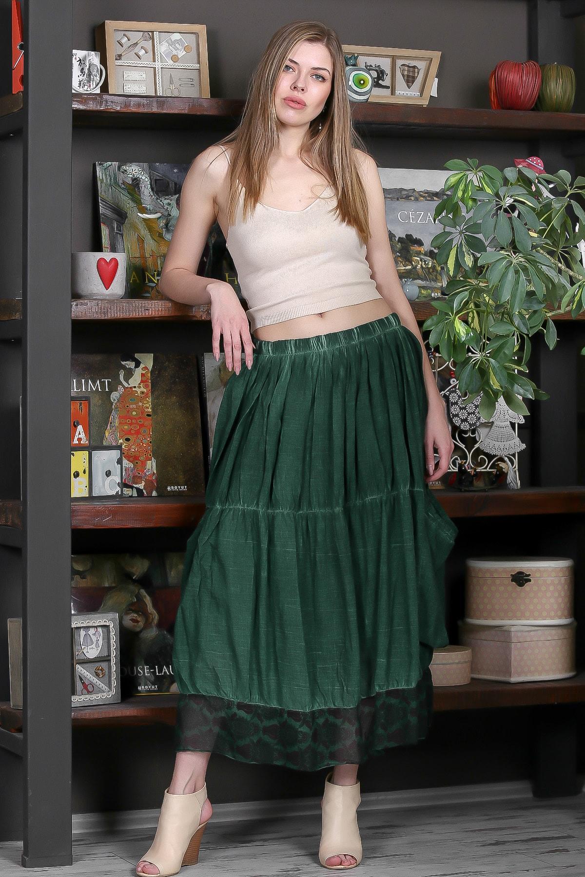 Chiccy Kadın Yeşil Beli Lastikli Astarlı Cepli Etek Ucu Tülbent Kumaş Bloklu Yıkamalı Etek M10110000ET99273