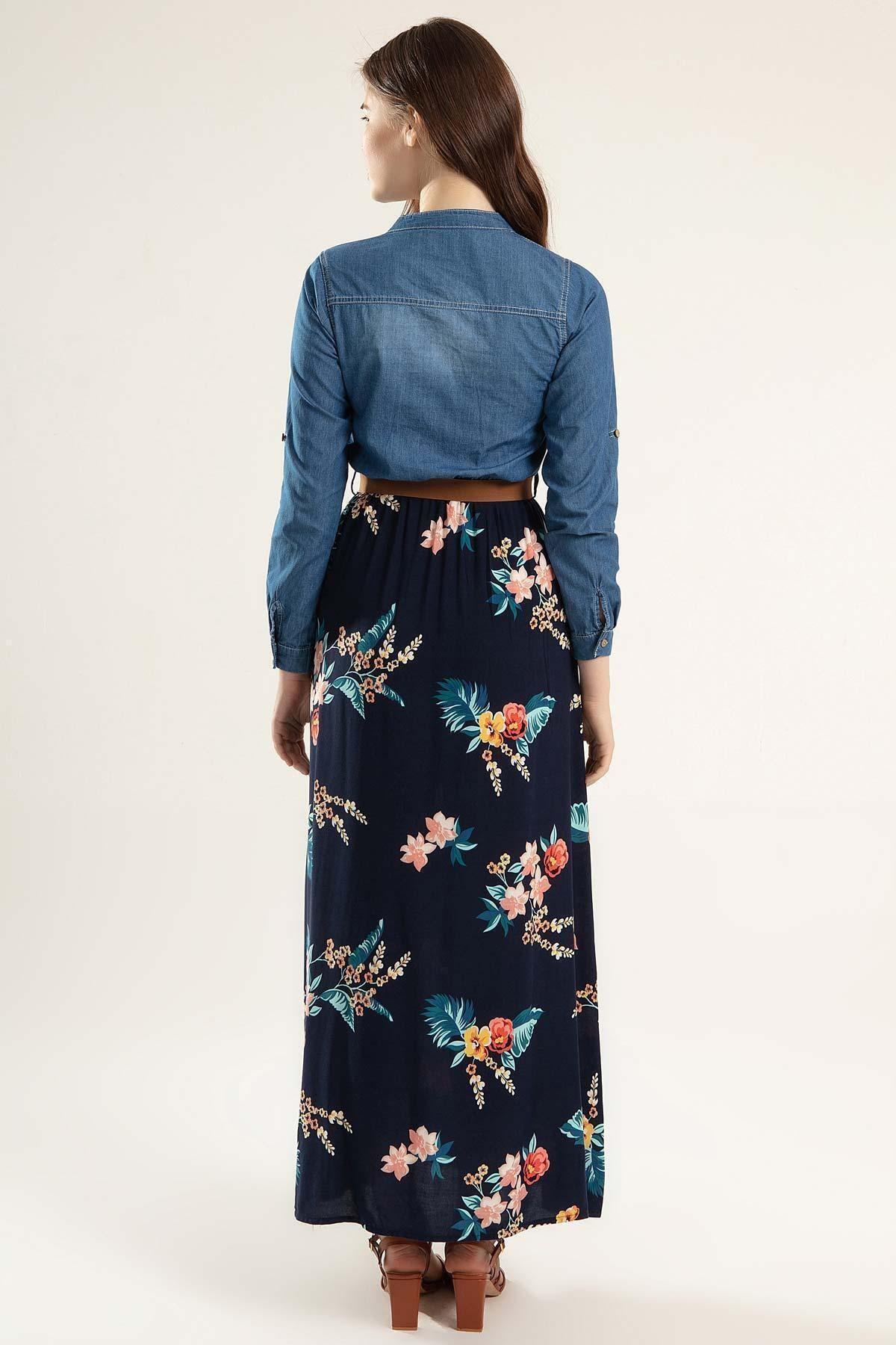 Pattaya Kadın Eteği Çiçekli Uzun Kot Elbise Y20s110-1395 2