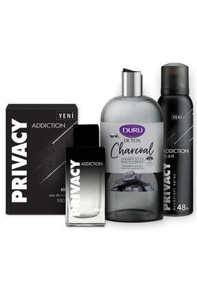 Privacy Addiction Edt 100 ml Erkek Parfüm + 150 ml Deodorant + 500 ml Duru Duş Jeli Set 1742751043447