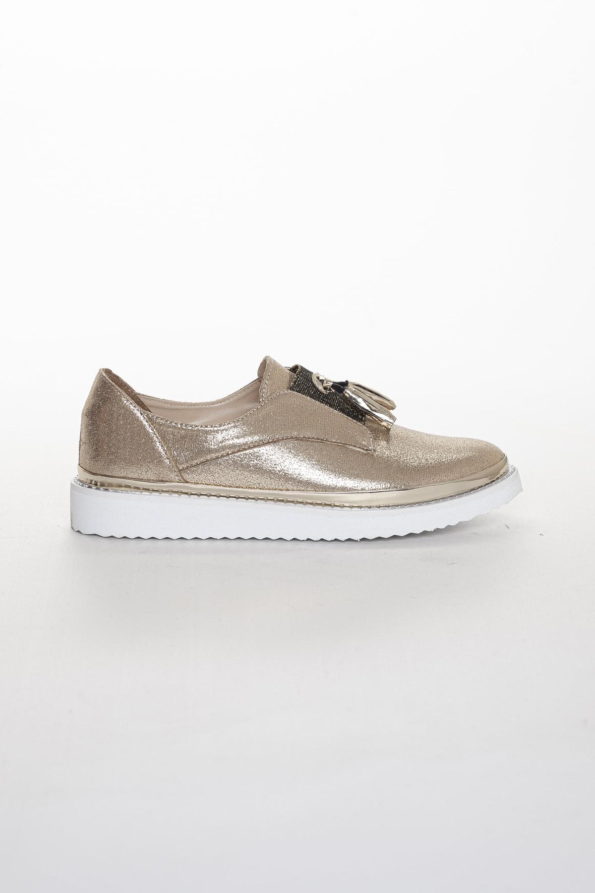 Odal Shoes Kadın Gold Oxford Spor Ayakkabı Püsküllü05012020 2