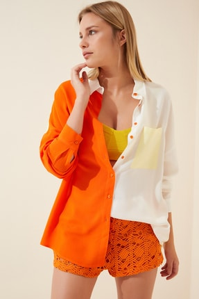 Happiness İst. Kadın Oranj Blok Renkli Oversize Viskon Gömlek DD00843