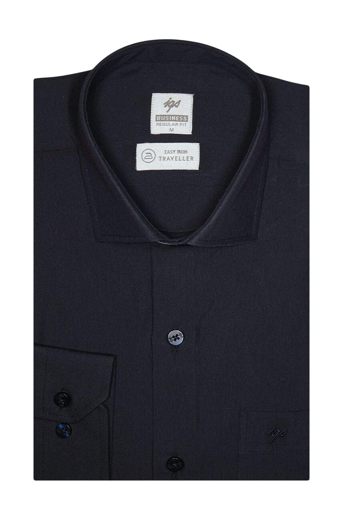 İgs Erkek Lacivert Regularfıt / Rahat Kalıp 7 Cm Klasik Gömlek 1