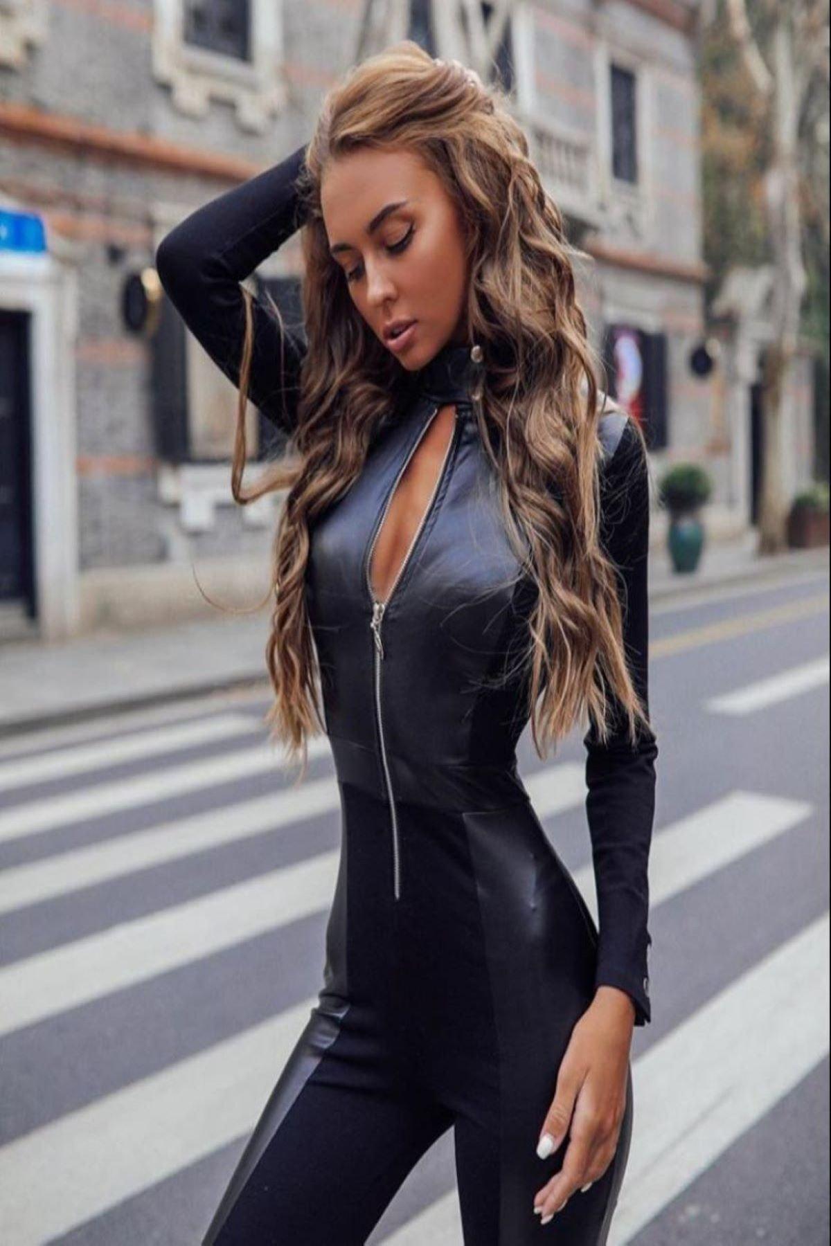 Fashiontayt Fermuarlı Deri Tulum 1