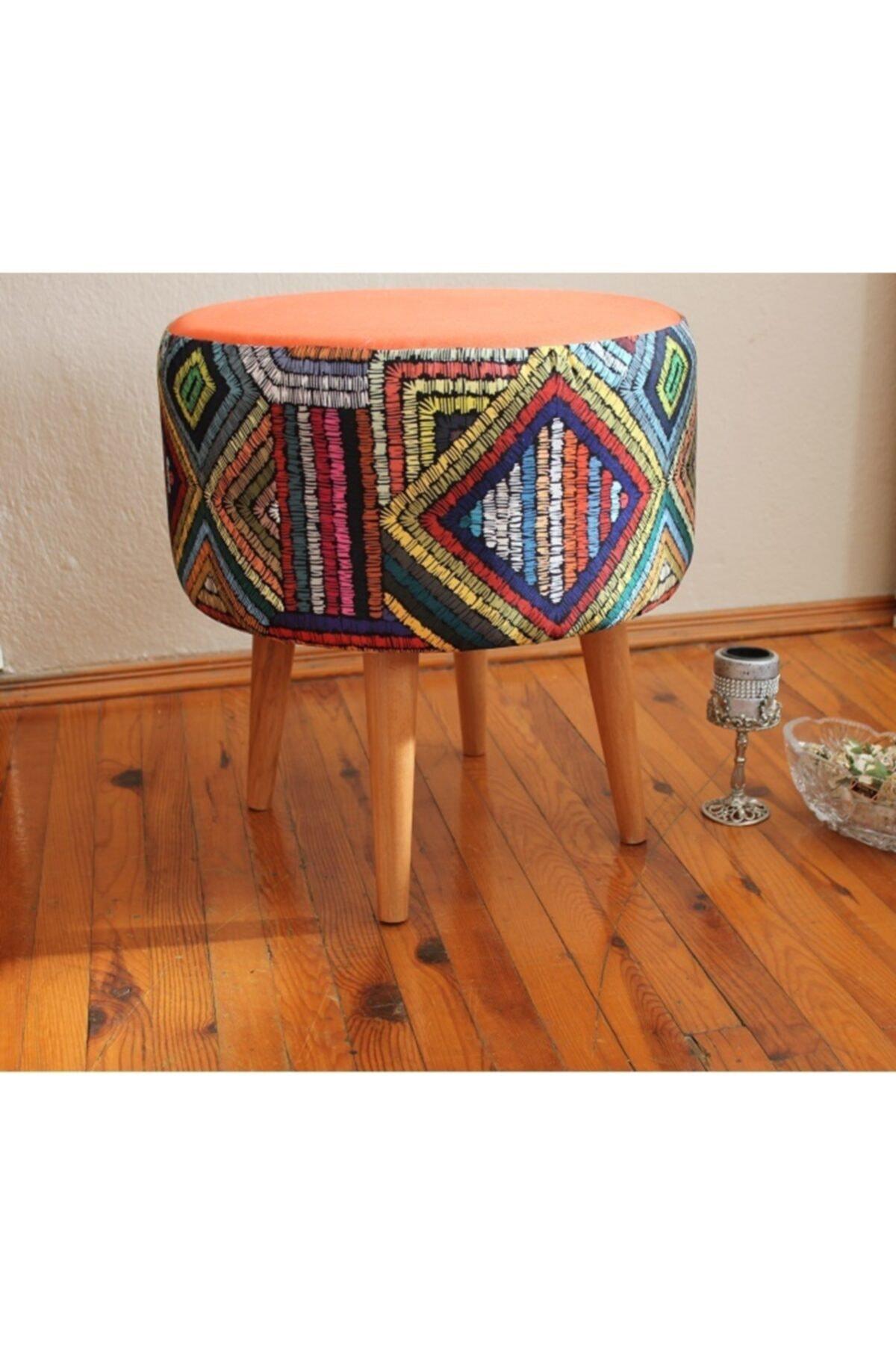 ALBATROS Gürgen Retro Ahşap Ayaklı Dekoratif Etnik Üst Kiremit Desenli Silindir Puf Bench Koltuk Sandalye 2