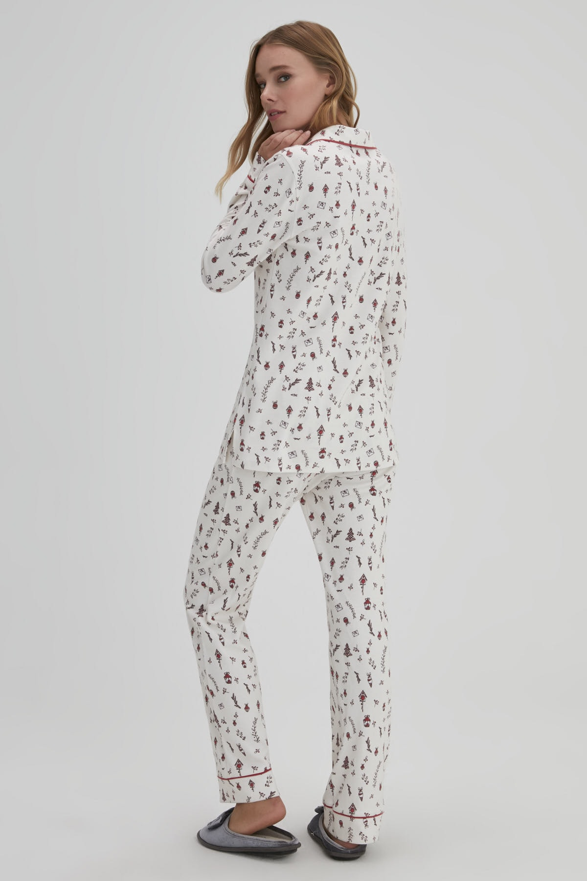 Dagi Gül Kurusu Kadın Interlok Gömlek Pijama Takımı 2