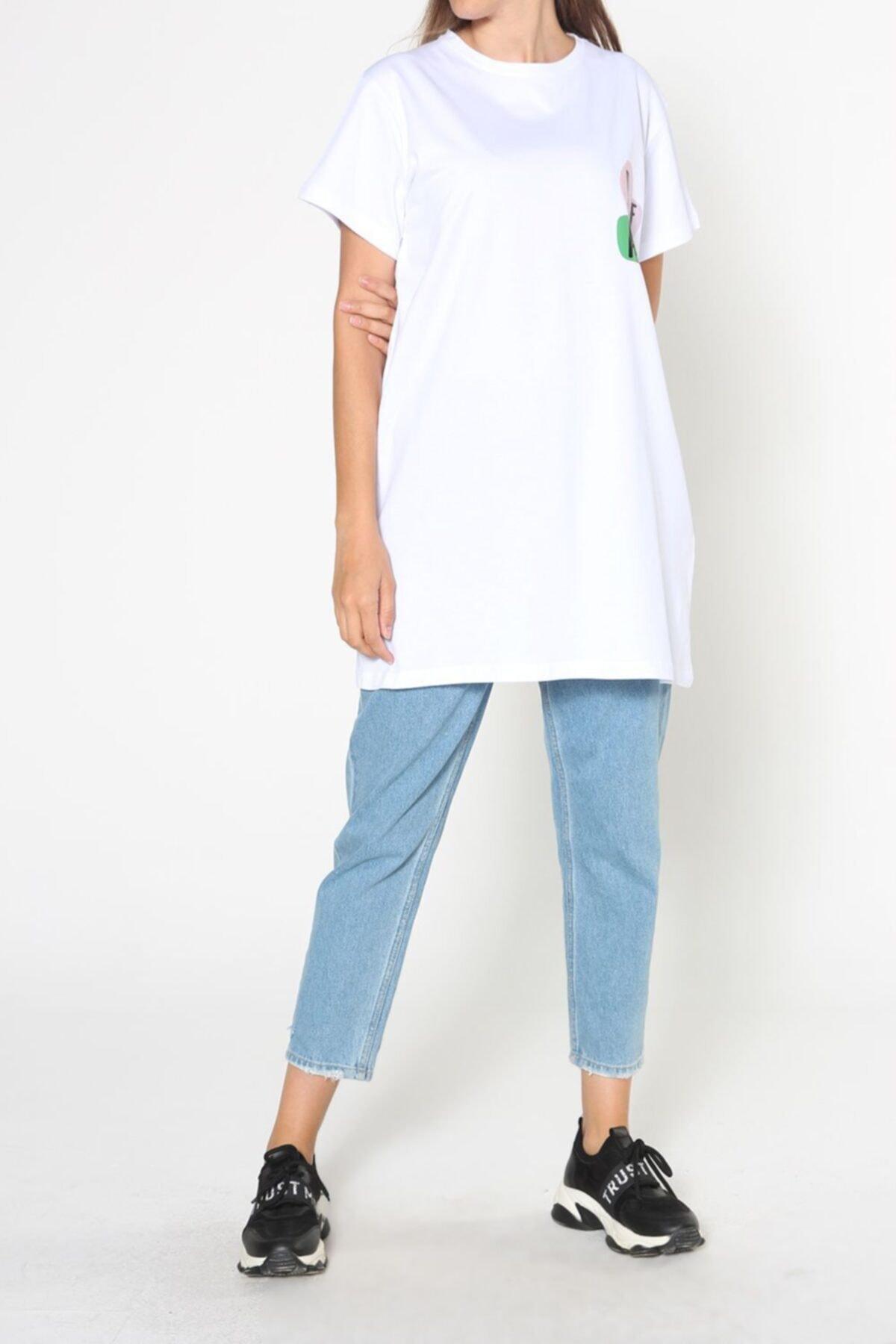 ALLDAY Beyaz Baskılı Kısa Kol T-shirt 2