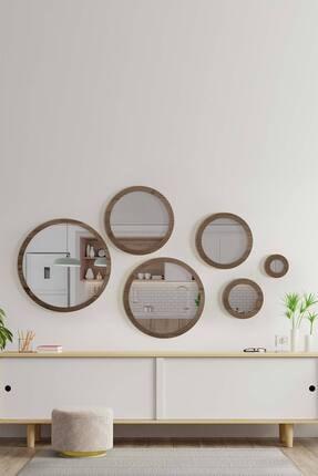 bluecape Doğal Ağaç Masif Ceviz Çerçeve 6'lı Parça Set Antre Koridor Duvar Salon Banyo Ofis Yatak Odası Ayna