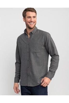 Tudors Klasik Fit Kışlıkbaskılı Gri Erkek Gömlek