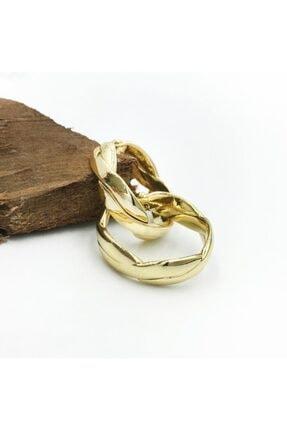 Artikel 2'li Örgü Desenli Gold Kıkırdak Küpe