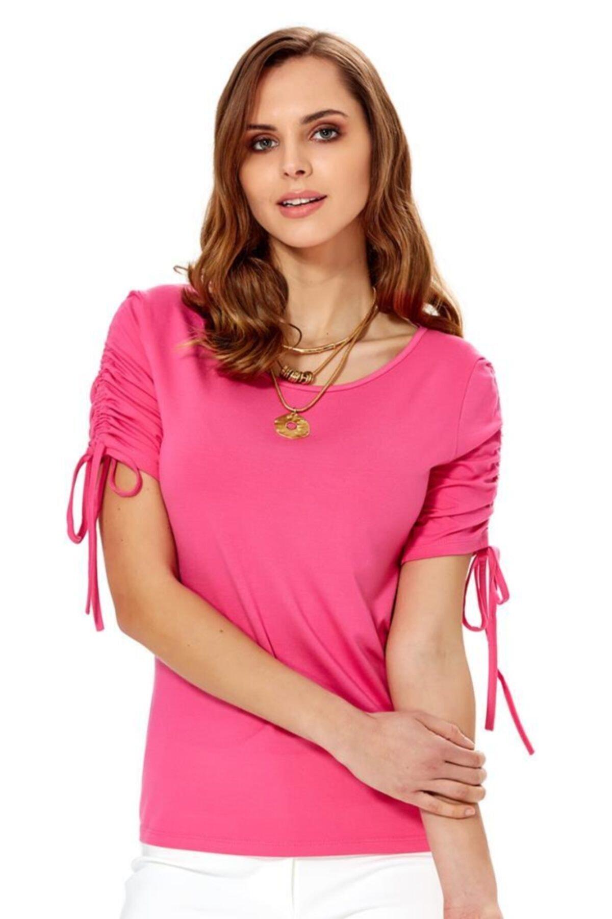 İKİLER Kadın Açık Fuşya Kolu Bağcıklı Bluz 018-1009 1