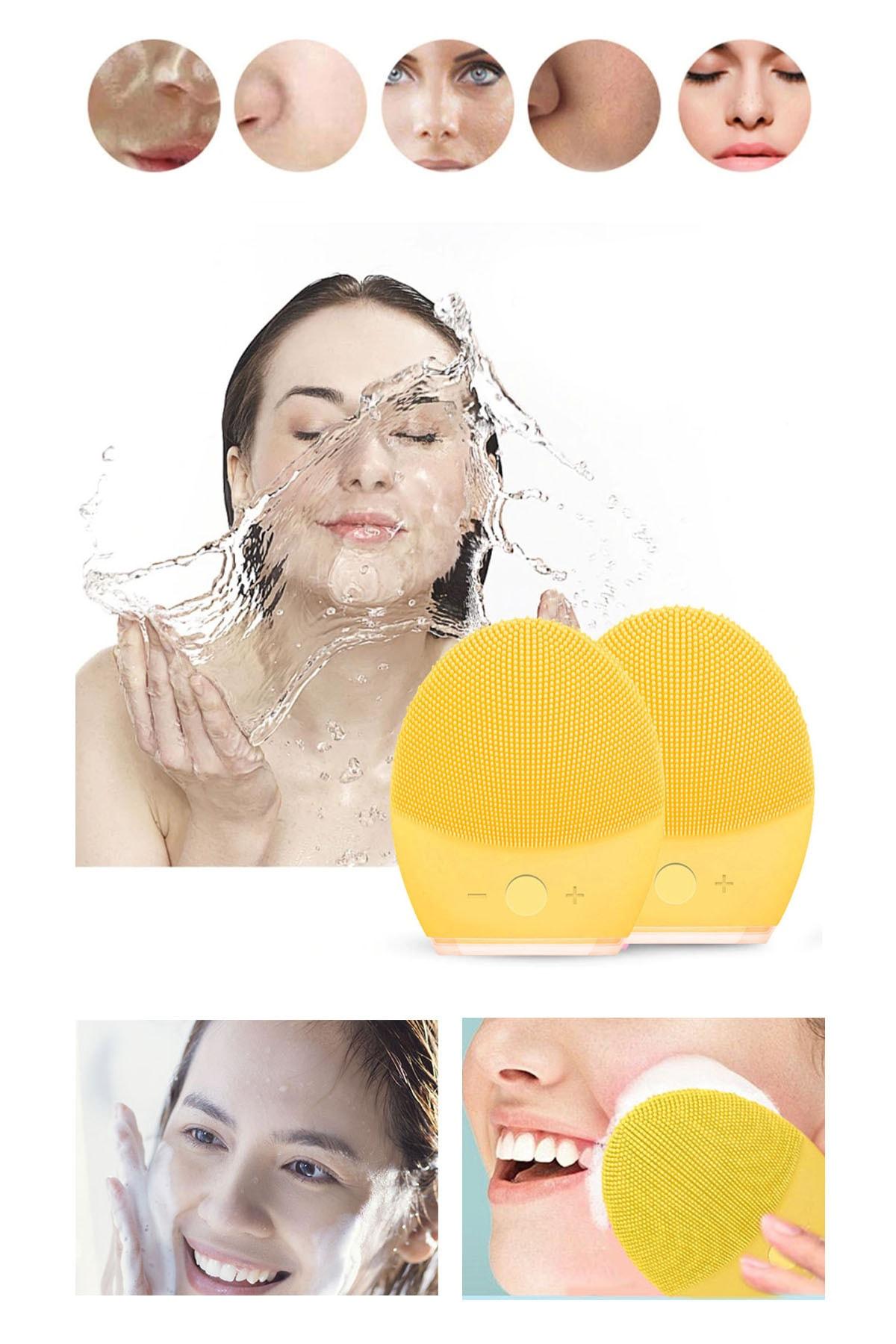 xolo Sarı Rimy Mega Büyük Boy Geniş Şarjlı Yüz Temizleme Masaj Cihazı Aleti 2