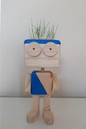 ORMANCA Çim Adam,kaktüs Ahşap Robot Saksı,mumluk Çim Adam