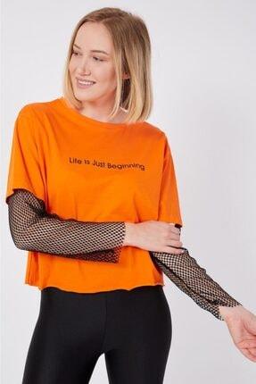Karaca Siyah File Kollu Turuncu T-shirt