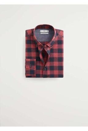 MANGO Man Erkek Kırmızı Regular Kesim Kareli Oduncu Gömlek 67020505