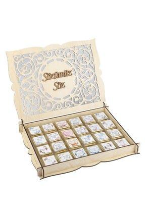 Melodi Çikolata Söz Çikolatası 96 Adet İsimli Gold Nişan Çikolatası Krem Ahşap Kutulu Kız İsteme Madlen