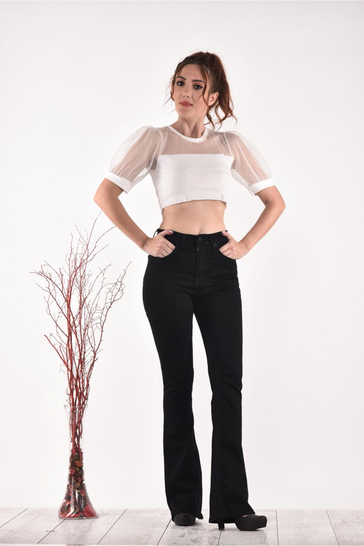 PANTOLOJİ Yüksek Bel Ispanyol Paça 823 Model Black Bayan Jeans Pantolon 1