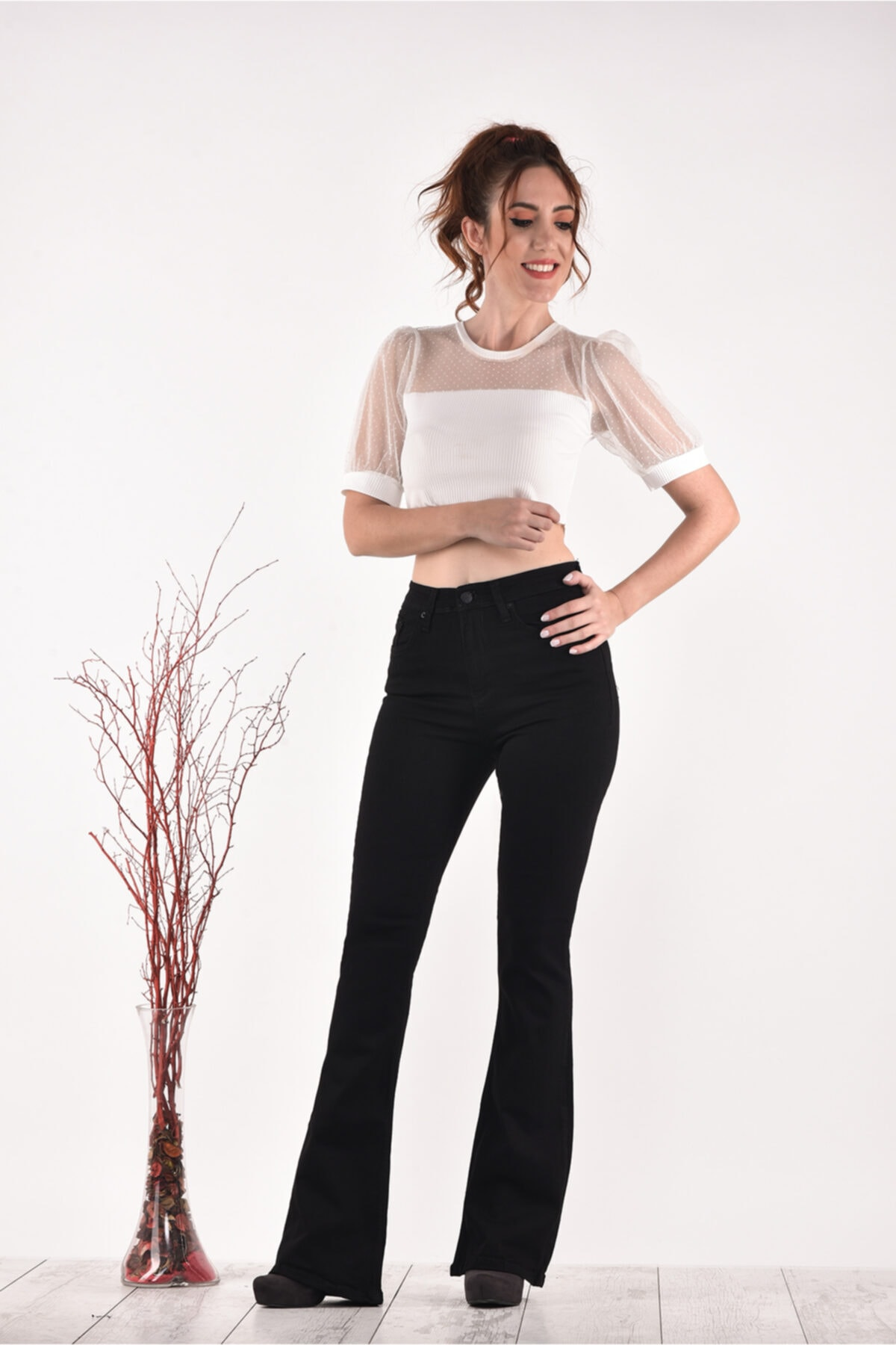 PANTOLOJİ Yüksek Bel Ispanyol Paça 823 Model Black Bayan Jeans Pantolon 2