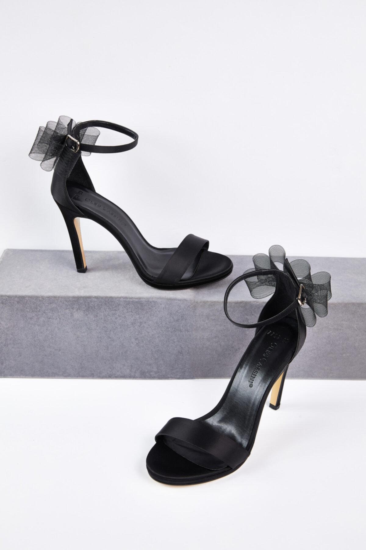 Oleg Cassini Oleg Cassını Tr Siyah Tül Detaylı Topuklu Gelin Ayakkabısı 1