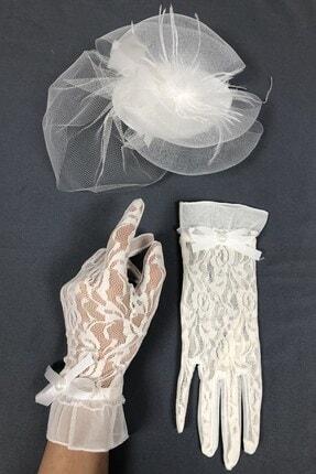 Hayalperest boncuk Beyaz Nikah Şapkası Ve Dantelli Eldiven